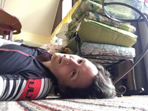 Me lying supine on the floor after an exhausting ride.